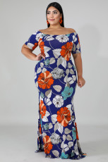Gaun Maxi Dress Biru Off-the-shoulder Bunga Plus Ukuran