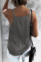 Grey Wrap Front Tank Top