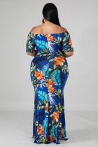 Groene off-the-shoulder bloemenprint plus size maxi-jurk