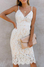 White Eyelash Lace Spaghetti Strap Midi Dress
