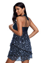 Navy Flsorescence Print Fluttering Layered Tankini Swimsuit
