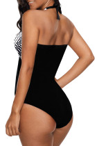 Sort Halter Dot Print One Piece Badetøj