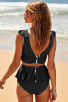 Black Open Back Ruched Halter Top šortky Tankini Set