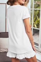Λευκό Super Soft T-shirt Ruffle Shorts πιτζάμες σετ