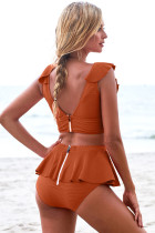 Orange Open Back Ruched Halter Top šortky Tankini Set