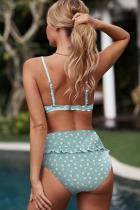 Sky Blue Fruit Print Detail Ruffled High Waist Bikini