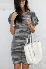 Gray Pile Of Sleeves Camouflage Dress