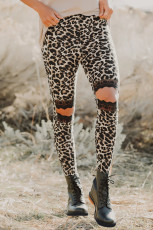 Floral Hollow Out Brown Leopard Printed Skinny Legging