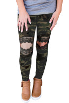Floral Hollow Out Camo-tryckta magra leggings