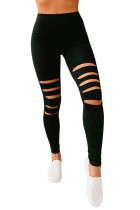 Black Hollow Out Fitness Activewear Leggings