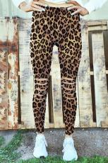 Leopard Hollow Out Fitness Activewear Legginsy
