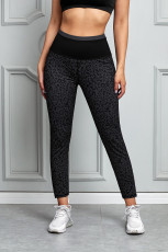 Svart Leopard Print Active Leggings