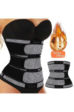 Gray 9 Steel Bones Latex Belt Waist Trainer with Hook