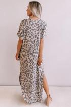 Afslappet Leopard Maxi kjole med slidser