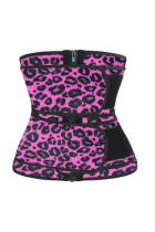 Rose Leopard Printing Compression Double Strap Latex Waist Trainer