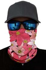 Rød blomstermønster ansiktsmaske og halsvarmer med UV-beskyttelse mot solen