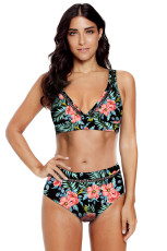 Black Floral Print V Neck Hollow Out High String Bikini