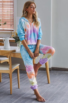 Multicolor Utopia Cotton Blend Tie Dye Hoodie Loungewear Joggers