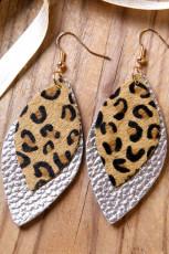 أقراط من الجلد الفضي بطبقتين من جلد الفهد