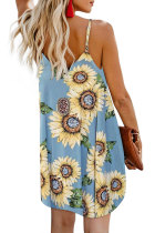 Sky Blue Sunflower Pattern Buttoned Slip Cami Dress