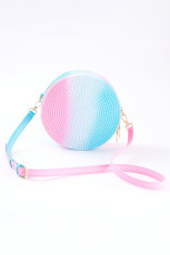 Pink Ombre Colorblock Jelly Rattan Petty Round Sling Bag