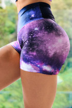 Lila Galaxy Print Booty Yoga Shorts