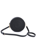 Black Jelly Rattan Summer Round Sling Bag