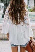 Hvit heklet blonder-topp