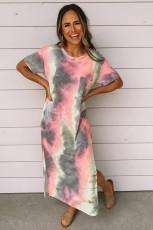 Серое платье макси Tie Dye