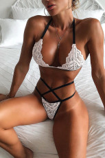 White Lace Halter Bralette and Strappy Thong Set