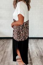 Повседневное макси-платье с цветочным принтом и леопардовым принтом из хлопка