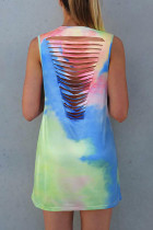 Tie Dye Hollow Out Mini Dress