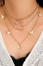 Layered Letter & Butterfly Charm Necklace