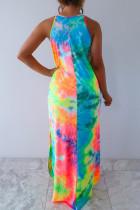 Разноцветное платье макси без рукавов с карманами
