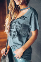 Gray Funny Motorcycle Printed Halter V-Neck Short Sleeve Graphic Tee