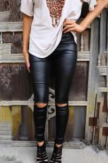Черные узкие искусственные кожаные леггинсы
