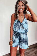 Blue Tie Dye Wrap V Neck Halter