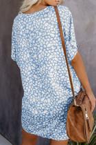 Sininen V-kaula puolihihainen Leopard rento T-paita mekko taskuilla