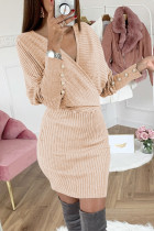 Beige Wrap V Neck Lengan Batwing Dress Sweater Ribbed