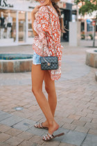 Orange Boho Print Free Flowing Tunic