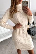 Beige Bodycon Sweater kjole med høj hals og struktur