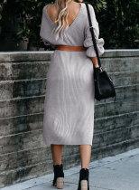 Grå riflet Midi genser kjole
