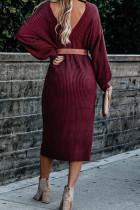 Red Ribbed Midi genser kjole