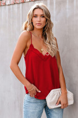 Red Cami Lace Balance Tank Halus