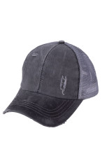 Γκρι Multi Level Crisscross Pony Cap