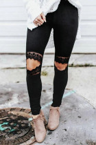Floral Hollow Out Legging Skinny Hitam
