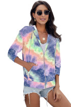 Μωβ Tie-dye Pocket Zip Up Hoodie