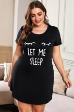 Plusstørrelse LÆT MIG SOVE Grafisk tryk Sort nattøj Mini kjole