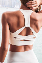 White Athletic Push Up Sports Bra