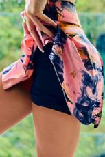 Roze dubbeldekker Tie-dye sportshort met hoge taille
